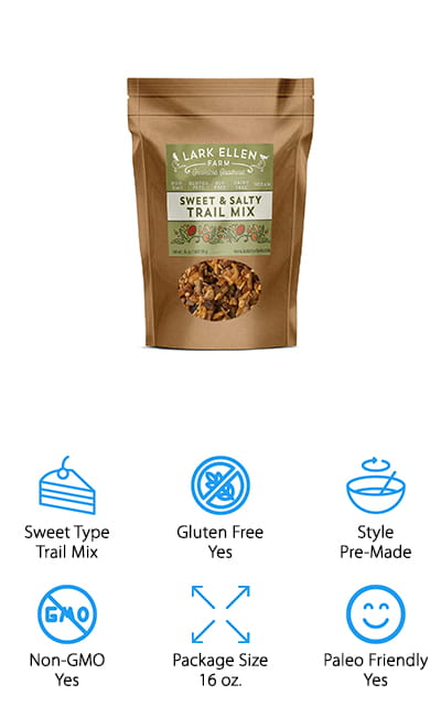 You'll have a great mix of sweet and salty treats that you can enjoy while you're sitting around the house or heading out on the go. The organic and grain free mix contains raw mixed nuts, seeds, raisins, dairy free chocolate and dried cherries. With a low carb, gluten free, oat free, soy free, dairy free and grain free product, you're getting something paleo friendly, keto friendly and vegan friendly. There's no GMO's, no additives and no fillers in this product either, which is great for helping you lose a little bit of weight. Made in the United States, these sweet keto snacks have a resealable bag that makes it easier for you to carry it around and keep everything fresh, even after you've opened it up.