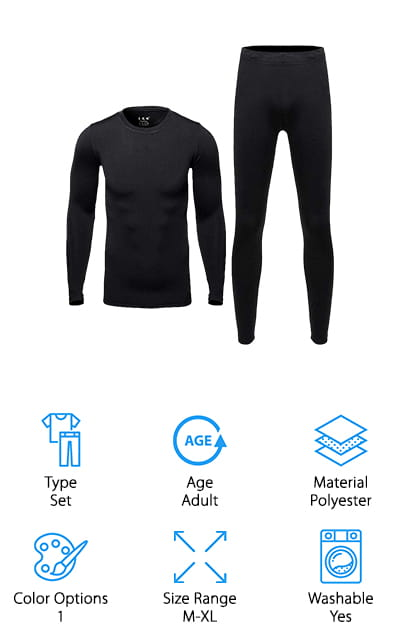 Some of the best men's hiking underwear is this set from Hi-Crazy Store. It's a set of long johns that come in a single color to help you stay warm in colder conditions. You can use them as a base layer and then put all of your other clothes on top of them; this method allows your body heat to stay close to your body and keeps you warm for longer. Or, alternatively, you can wear them as comfy, warm pajamas in the winter months. They would make a perfect underlayer for camping and hiking in the winter months, especially if you are susceptible to the cold. It's well-made, and machine washable so that you can easily clean them when you get home off the trail. They are so soft and fit so comfortable that you won't want to take them. These 100% polyester long johns are perfectly cozy and great for whenever you feel cold!
