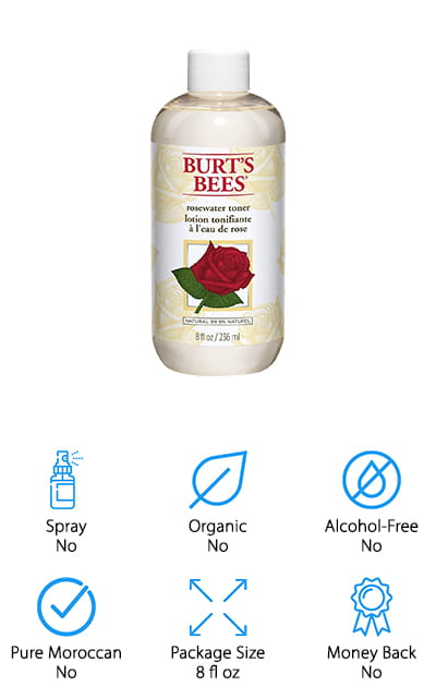 Lately, Burt's Bees has really hit the ground running in the cosmetic industry, with their natural honeycomb-based products. This rose water toner is no different. You can use this toner to help get any trapped dirt or oil out of your pores, as well as using it to remove makeup and the residue from any facial cleanser that you've used before applying it. It's gentle and uses only the finest botanical astringents so that your pores are minimized and your skin is soft and clean without any harsh chemicals. It's especially effective when you use it in conjunction with your other favorite Burt's Bees cosmetic products, especially their moisturizers. Rosewater is, of course, an active ingredient in this mixture, but also Aloe Vera and Glycerin to help create a beautiful floral scent that you're going to love putting on your face for that extra little burst of hydration. We love how natural and effective this toner is!