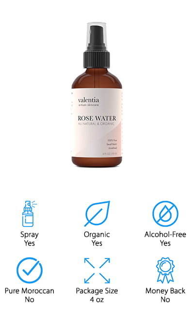 Last up on our list is this rose water toner by Valentia. It's a high-quality product that is completely organic and certified, as well as being entirely pure rose water free from any synthetic ingredients. It's cruelty-free, never tested on animals, and unrefined so you are getting the most natural product that you can. The roses are steamed in Turkey to create this mixture, perfectly distilled in the process. Feel more refresh with both the hydrating properties of this rose water and the aromatherapy bonuses, making you feel and look great. It helps to minimize the appearance of your pores naturally, cleansing as it goes and balancing the PH levels on your skin. This helps you clear up any acne, eczema, and other skin issues that you might have going on while cleaning all the excess junk out of your pores. It naturally provides vitamins A, C, D, and B6 to give you the best results!