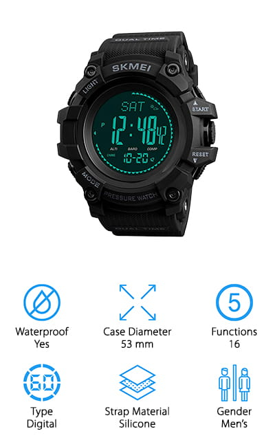 The SKMEI survival watch is both sleek and simple and extremely functional, including a host of features that will work with your sport! It's water resistant to 99 feet, so you can shower with it on but should take it off to swim. The band is made of black silicone, so it's soft and it will not be uncomfortable to wear. It's shockproof and includes a fitness mode that counts steps, calories, and distance. Out of fitness mode, it includes the usual altimeter, barometer, and compass, as well as the weather forecast, a backlight, 2 alarms and dual time displays. You can also use it as a stopwatch. The watch is digital, but it uses quartz movement to be as accurate as possible, so you're never late or too early for any event. The case is an amazingly large 53mm wide, so you can read the display quite a ways away. We love this military-style watch!