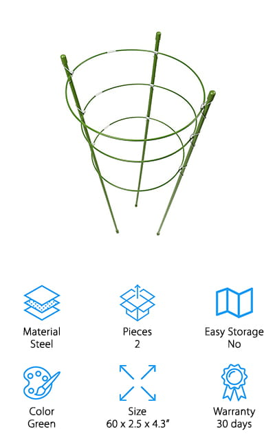 These steel trellises by Pannow are excellent for your plants! They are easy to use and set up, with three rings that can be adjusted according to the size of the plant that you're using it with. The wire is strong and coated with a thick plastic as well as an ultraviolet treatment to keep it strong and sturdy. It will resist the rust from rain or watering the plants. This trellis helps to support your plants, helping them to grow into better, fuller crops (or even ornamentals) throughout the growing season. It is also resistant to corrosion by chemical fertilizers and pesticides, and we love that about it. You can use this trellis to help point Morning Glory in the right direction, as well as keep peppers and eggplants growing strong. Of course, you can also use this trellis to grow tomatoes and sweet peas, so it's great for all of your climbing plants!