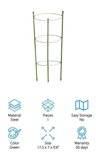 The best part about these Funseedrr Supports is their versatility! You can adjust the size of the rings based on the size of your plants, and keep adjusting them through the entire growth cycle in order to better facilitate and support their maturation. Any climbing crop will have more success with this trellis because it gives the plants more room to grow and increases the air flow and watering potential to all of the plants. It's made of durable steel with a plastic coating that is made specifically to resist the rust brought on by watering, rain, and the general moist atmosphere that accompanies tomatoes, peppers, and other climbing crops. The stake itself is 17 inches high, and the three hoops come in 6-inch, 6.5-inch, and 7-inch sizes so it won't matter how big around your plant is – there's a ring on this support for you! We love the design of this single pack trellis!