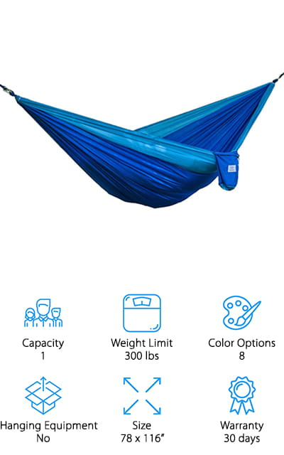 This hammock is incredibly strong, strong enough to have a weight limit of 400 pounds. For the price, that isn't bad at all. It's about the size of a double hammock, so you'll have plenty of space to move around and get comfortable. It's super easy to clean, and after being wet it will dry incredibly quickly. It's easy to get this hammock up, but it doesn't come with any carabiners – instead, there are two binding strings that help to hold it in place. It's easy to carry with you at such a lightweight, and the stuff sack matches one of the 8 color options that the hammock comes in, so there's no doubt whose is whose. The fabric is the same, ever-popular parachute nylon that will make you feel comfortable and won't rip for any reason. We are so impressed with the strength of this hammock, and we know that you will be too.