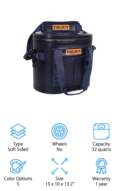 The last cooler on our list is this soft one from TOURIT. There are five different color options to appeal to your sense of style, but that isn't all there is to see here – this cooler is a powerful, constant companion that will never let you down. Keep food and drinks cool up to three days due to the unique layers of insulation in the walls of this cooler. It won't sweat or leak at all and will keep all of the cold inside and the warmth outside. The zipper is airtight, so nothing is going to get out through there, either. You can use the shoulder strap to carry it, the top handles or the reinforced side handles – depending on how full you have it. Not to mention that it's a great price and a 3-year warranty to make sure that you love the product. It's big enough to hold 20 cans but small enough for the trunk!