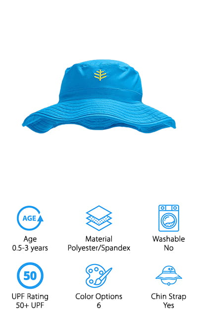 If you're looking for a durable sun hat that will take your baby from the pool to the ocean without fading, grab one (or a few) of these great sun hats from Coolibar! They are made of a polyester and spandex blend, which is both chlorine and saltwater resistant. This means you can take them in the pool or in the ocean without worrying about the fabric fading or wearing out! We like that these hats have a little stretch to them, which makes them super comfortable for your child to wear all day. The brim is nice and big, and it gives your little one 50+ UPF protection from harmful UV rays. To keep them cool, the fabric is lightweight, and there is a moisture wicking terry sweatband around the inside to keep their heads dry and cool. The hat is easy to fold or crush up, so you can travel with one in your bag at all times!