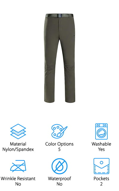 Looking for the best hiking pants that could pass as work slacks and are also incredibly flattering? Grab these hiking pants from Camel, and take them on your next hike or your next board meeting! These nylon and spandex hiking pants are cut to flatter your figure, no matter how thick or thin your legs are! The extra stretch from the spandex and the elastic waistband also help flatter your shape by allowing you to move freely and confidently. They also come in 5 dark colors that are both office-friendly and visually appealing to the eye. We like that the fabric is durable, flexible, and water-resistant to get you through a rainy hike or a coffee spill at work! The breathable fabric also helps wick away sweat and potential odors throughout the day! We think these are great to wear while playing a little touch football, and they look amazing paired with a nice button-down shirt at the office, too!