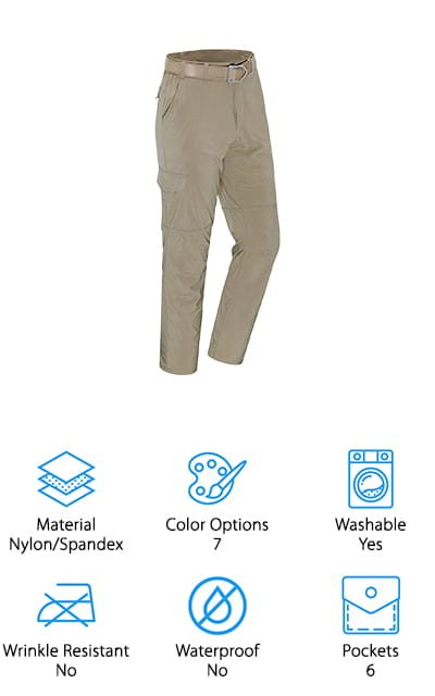 Last up in our hiking pants buying guide are these comfortable and lightweight pants from Unitop. We think these are great pants to take with you on your next summer camping trip, hiking excursion, or just wear around the yard! The fabric is water-resistant and dries quickly, so you can take them canoeing or fishing without worrying about sitting in sloppy, wet pants all day long! These are also incredibly lightweight, which makes them perfect for rolling up and tossing into your camping knapsack without weighing you down. They also have 6 large pockets that hold plenty of snacks, supplies, or tools to get you through your next outdoor adventure. We also like that they come in 7 different colors, so you can find a pair – or a few – to match your style! For a solid pair of men's hiking pants that won't weigh you down, we think these are a great option to take with you wherever you go!