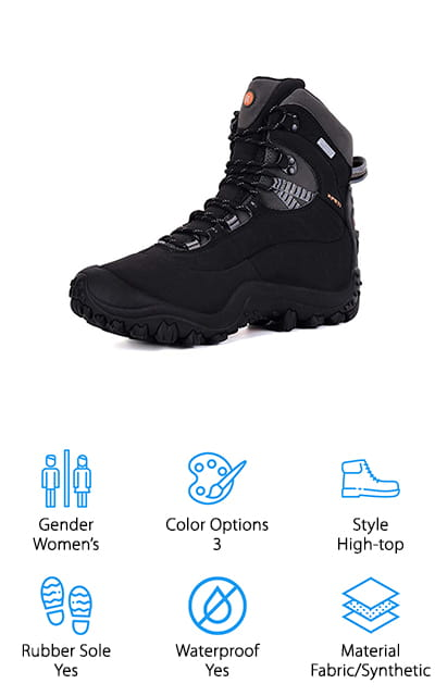 Last up in our vegan hiking boot reviews is this pair of women's high-top hiking boots from XPETI. We think these are a great pair of boots for taking on your next winter hike, whether you plan to trek through rain, mud, snow, or ice! The high-top design keeps your feet and ankles well protected from the elements, thanks to a waterproof mesh upper that's animal product free. To keep your feet warm in chilly temperatures, these boots have Thinsulate insulation that works down to 30 degrees Celsius! The rubber soles are thick and sturdy, with tons of grip for snow and ice. We also like that the soles fit up over the front, giving your toes some extra protection from kicking or stubbing them! Since these are women's shoes, they do fit a bit snug. If you have wider feet or plan to wear extra socks to stay warm, consider going up a size to fit your feet better!