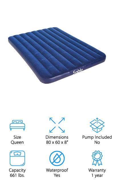 Let's end our camping air mattress reviews today with one of our favorite camping air mattresses to take with you on your next cold-weather trip! This inflatable mattress from Sable is heavy-duty and made to use in the cold. The waterproof PVC is eco-friendly and super durable, holding over 660 pounds without tearing or stretching over time! The flocked top is thick, which helps retain heat in cold weather. You can sleep comfortably on this mattress, even in sub-zero temperatures! It sets up quickly, and you can use whatever electric or hand pump you have at home to inflate it! We like that it can withstand a lot of use, and packs up easily to fit in your car, duffle bag, or luggage. We think this also makes a great mattress for extra houseguests or sleepovers with friends! They're also fairly inexpensive, so you can grab one for camping outside and one for the occasional houseguest without breaking your budget!