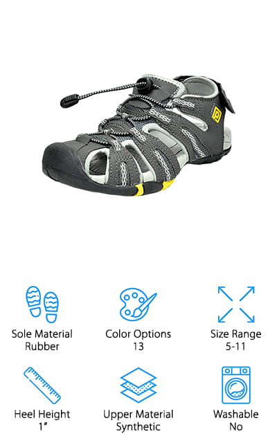 Looking for a solid pair of backpacking sandals that will keep your feet in great shape all day? This pair from Dream Pairs is great for your next hike or camping trip! They cover the foot and look a lot like hiking shoes. This is great because the toes and tops of the feet are mostly covered, protecting you from dirt, gravel, and the sun. Though they are covered, the shoes have plenty of ventilation to keep your feet cool and dry too! We also like that you can adjust these at the ankle and by the bungee laces in the front. You can get the right fit, and adjust them as your feet swell throughout the day. The 1-inch heel is great for hiking, and it provides plenty of support to handle rough terrain with ease. We also like that they're lightweight, so you can toss them into your backpack to change into if you get tired of boots!