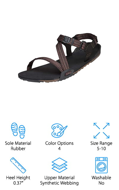 Last up in our hiking sandal buying guide are these minimalist sandals from Xero Shoes! If you prefer barefoot running or hiking, these are a great pair to pick up for a little added protection on the bottoms of your feet. The rubber sole is only 10mm thick, so you have the flexibility and natural stance you get from barefoot running shoes or being completely barefoot. There is absolutely no arch or heel support, so your feet will land naturally with each step. The non-marking sole also has plenty of grip to help you traverse we rocks and terrain confidently. The straps are also minimal in design and easy to adjust from the front and back of the ankle. Our favorite feature with these lightweight shoes is that you can roll them up! This is great because you can pack them in your luggage or hiking sack without taking up precious space! What a great gift idea for barefoot hikers!