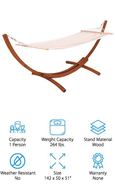 Do you want a one person hammock with stand that looks as luxurious as it feels? This wooden hammock from Giantex will look beautiful on a balcony, patio, or in your backyard! The wooden stand has a natural curved design that looks far more expensive than it really is, and can hold up to 264 pounds with ease. It's perfect for one person to relax by the pool, or lounge away the day with a good book and glass of wine. The hammock is made of an off-white poly-cotton blend, which has a minimalistic and luxurious vibe to it. The wooden stretchers keep the hammock stretched flat, so you can lie on it without sinking in too far. You could also swap this hammock out with a wider one if you want more space to stretch out. If you want a budget-friendly wooden hammock to elevate the look of your outdoor space, this hammock is a great place to start!