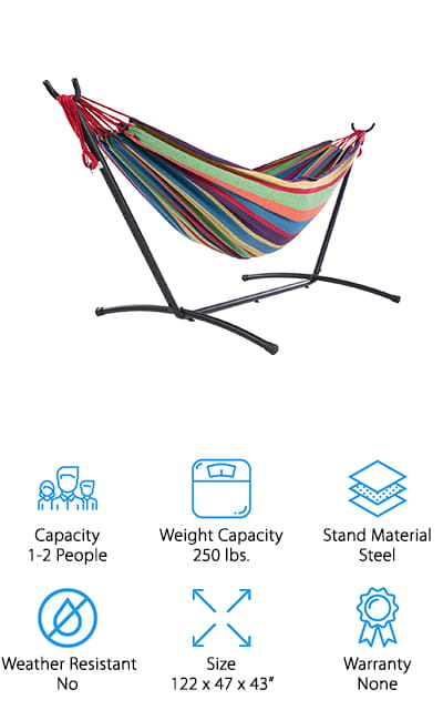 Last up in our hammock reviews is this lightweight hammock built for two from SUNCREAT! This hammock is built for one person or a couple small adults, and it can hold up to 250 pounds safely. The stand is also adjustable, with extra holes on each side to raise or lower the hammock level to make it easier to get in and out! You could also swap out the hammock that comes with it for a smaller one-person hammock or a fun new color. It's made of rust-resistant steel, so it's fine to leave it out in the rain or set it up on dewy grass. The hammock is made of soft cotton, and the vibrant striped pattern has a fun, tropical look to it. We like that everything breaks down easily and fits into a convenient storage bag for transporting to the beach, park, or wherever! It also only weighs 28 pounds, so it's super easy to carry around!