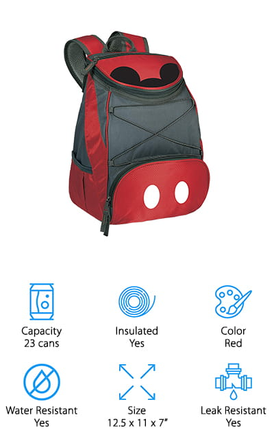 We finish our reviews today with the perfect cooler backpack to take with you on your next trip to the Magical Kingdom! This cooler from Picnic Time has a subtle Mickey Mouse design that will look great while out with your family enjoying some Disney-themed fun! In addition to looking cute, it's also a really nice cooler backpack! The main compartment holds up to 23 cans, so you can bring plenty of sandwiches, snacks, and drinks to keep you happy all day. It's also insulated and leak resistant, so your food stays cold and you'll stay dry while walking around your favorite amusement park. The bag is also water resistant, which is perfect for taking with you on rainy days or to a water park! There are also plenty of extra compartments on the front and side, as well as a bungee lacing on the front, to keep dry snacks, extra water bottles, and sunglasses dry and easy to access.