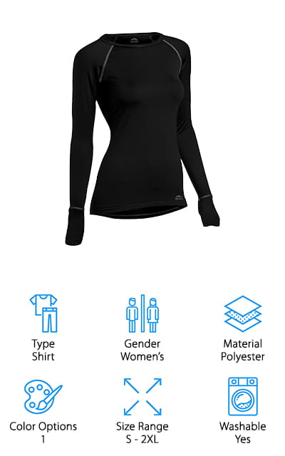 Last up is one of the best base layer shirts for women around. ColdPruf Quest Base Layer top is made of a blend of polyester and spandex and has some integrated silvadur. This is a single layer shirt that offers odor control and helps wick away moisture and dries quickly. It also helps control the bacteria that causes odor in the first place. A lot of people think about staying dry outdoors and only consider the weather and if it's going to rain or snow. Controlling sweat is important to staying dry, too. If you're looking for something to wear during extreme activity in the coldest weather, this is the one. The drop tail and thumbhole cuffs provide extra coverage so the cold can't sneak under your shirt or up your sleeves.