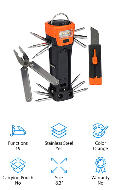 The last item in our multi tool buying guide is pretty spectacular. It has 19 different functions, including a LED flashlight, hammer, folding pliers, knife, as well as a handle for easy carrying. It also comes with a wide range of screwdrivers and hex keys including slotted, Phillips head, and ever a few mini ones. The pre-made hole allows you to hang this tool if you need hands free light to work. The flashlight requires 2 AAA batteries which are not included. This is the only tool in our review that features a flashlight and it really increases the versatility. Obviously, it's a perfect tool to take camping, hiking, hunting, or fishing but it's also a perfect option to keep in your car or to use around the house for quick and easy emergency repairs.