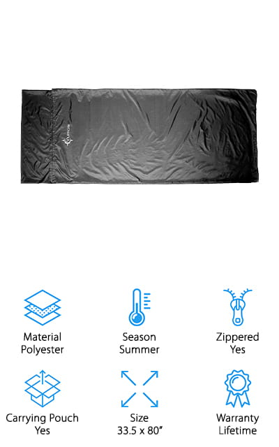 "For the best sleeping bag liner for sale that's great for the summertime, check out this one from Vumos. It has a full length zipper that runs down one side of the liner and along the bottom. Unzip it so it's flat and you can use it as a nice, large sheet. It's more than 7 feet long, too, so it has more than enough room for very tall people or can be used as a base sheet for 2 campers. It's made of 100% polyester with a satin-like finish that's soft, smooth, and breathable. This is a good choice for hiking or backpacking trips because it includes a stuff sack and folds to only 7.5"" long. Also, it only weighs 11.5 ounces so you'll definitely be able to easily slide it into your pack."