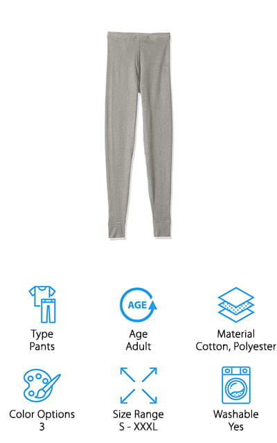 Our last pick is from Hanes, a very well-known name in underwear. Their Ultimate Thermal Pants are made of a soft waffle knit that regulates the temperature. Hanes uses X-temp technology which keeps you cool and dry by adapting to the temperature as well as your environment and activity level. These pants are tag free and have flat seams so there's no rubbing or itching. They really keep you warm without adding a lot of extra bulk. Plus, the thin fabric and snug fit move with your body without restricting anything at all. They're even shrinkage controlled. One of the best things about these pants is that they come in a lot of sizes. In fact, they're the only product on our list that goes up to XXXXL. They're available in black, charcoal, and white.