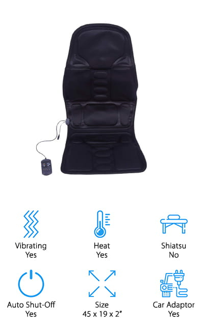 Moor makes this great office chair massage pad that you can use just about anywhere! There are eight full vibration modes that you can use to find your perfect relaxation, as well as heat for extra relief from tired muscles. There is a 'wandering massage' feature, which uses rolling motions to mimic what it's like to go to a real massage therapist. A unique feature on this pad is the timer, so you can set the chair to run in either 15 or 30-minute windows so you can take short naps safely while you're using the pad. And you won't have to worry about it overheating, either. It's lightweight and portable, and the vibration modes paired with the heat will help work away all of your stress. We love the different features that this pad offers compared with the others on this list! If you don't like it, you can get your money back in six months!