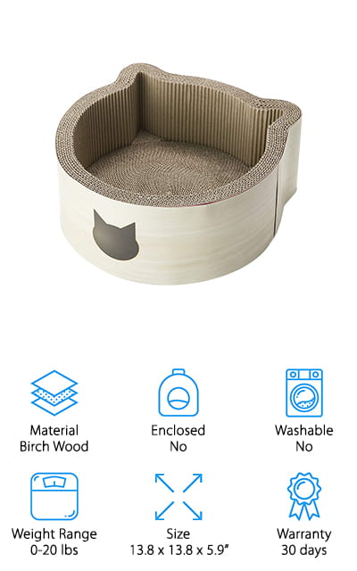 This bed by Necoichi is understated and cute as a button! It's made of an exterior of birch wood, with sturdy, wrapped cardboard for the floor and interior walls. It looks as simple as one of the designer cat beds you might expect to see in high-end pet stores. But that's because it's modeled to be both a bed and a scratching post. Does your cat like sleeping in the box the bed came in, rather than the bed? That's no longer an issue! Cats love sleeping in box-shaped things, and this is no different. It even feels the same and has the added bonus of saving your furniture from their claws as well. Did we mention that from above, the bed is shaped like the head of a cat? Because it is, and that's pretty amazing! As an added bonus, the glue that keeps it together is made from cornstarch, so your cat can chew away!