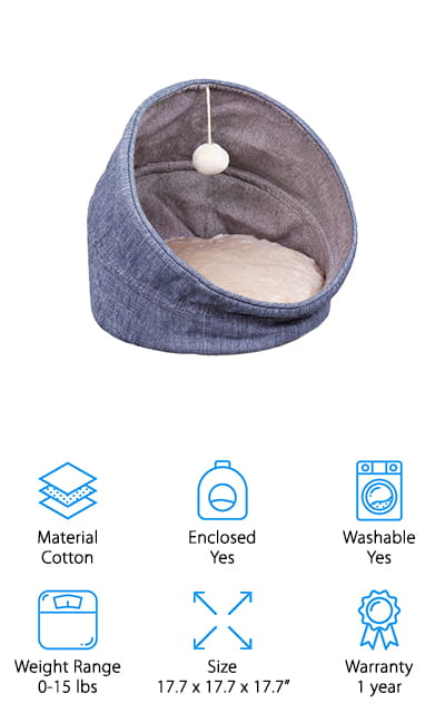 The last bed on our list is one of the best cat beds for large cats on our list. Its large size makes it spacious and comfortable, even for your laziest housecats. It's a tunnel bed, which can go from being completely enclosed to being just a round bed by using a collapsible wall system. The barrel design is unique but also useful, as it allows your cat to have both types of beds in one product. The filling is extra thick cotton, so your cat is also sure to be extremely comfortable. It's flexible and the soft cushions will help your aging cats' joints feel much better. There is even a plush ball on the top of the bed that your cat can play with in its new fancy bed. We love the removable cushion so you can wash it, as well as the non-slip bottom of the bed that keeps it in place!