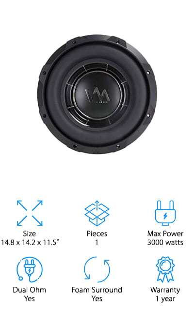 This subwoofer is unique on our list of the best because while it has Dual Ohm capabilities, you can also wire it for single Ohm if that's more what you're after. The versatility gets this product by VM audio into our list without a second thought. Due to the unique mechanical suspension and other features, you get such a pure, clean sound when using this subwoofer with a deep bass that you're absolutely going to love. For a 12-inch subwoofer to put out 3000 watts at max power has to mean that it's a beast. The bass is going to be incredibly low and deep with this woofer, and we wouldn't have it any other way! The basket is a die-cast aluminum that provides it the proper amount of structural integrity. What more could you want from an amazing subwoofer but sound, bass, and durability! This one has all of that and more for perfect performance.