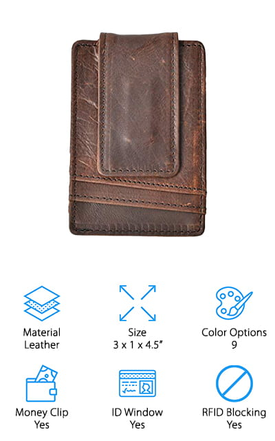 If you still aren't convinced that a leather wallet is for you, consider this one from Hopsooken. It has both the money clip and the ID Window – features that not even a metal front pocket wallet could pull off! It's a super slim design available in nine colors, including different types of leather finishes. If you prefer napa leather, you can get that, or crosshatched leather, or even distressed natural-looking leather! We think that's a pretty awesome level of customization. It works really well if you're tired of carrying around a big, bulky wallet. The money clip is powerfully magnetic, and there are 6 protected card slots. Neither the magnet from the money clip or any RFID scanners will be able to penetrate this product. We also love the change pocket in the middle of the wallet, which comes in handy. The ID display window has a finger slide so you can quickly access your ID.