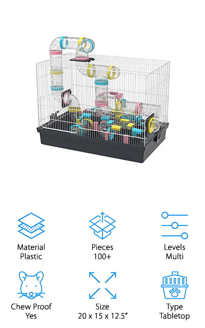 This huge cage by GNB certainly looks like the best hamster cage ever! It's full of tunnels and slides so that your hamster will have the time of its life. It's a huge habit with plenty of extra parts and levels to keep you creating and your hamster entertained. It's a small pet paradise! The tubes and tunnels are made of non-toxic plastic that won't harm your pets at all. We love how big this place is, and how big you can make it with additional tubes and habitats. Make your small furry pets an entire world of their own to play in if you want! It's easy to assemble and fun, while also providing everything your hamster needs. The wires are chew-proof so that your pets can't chew their way out of the cage and get themselves hurt in other parts of your house. It's fun for both of you and will last a long time!