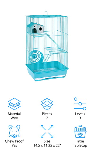 This three-story hamster cage is pretty amazing. It can come in four different colors, including two shades of blue, yellow, and pink. It comes with an exercise wheel, two removable platforms and two ladders that your hamsters can use to get up to them. There's also a cozy little nesting house for your furry friends to sleep in. The cage has a door on the roof to help you get your pets out to clean the cage. It cleans quickly because the bottom of the cage is a grill. All the waste and others fall into the pull-out tray and then you only need to clean the tray out. We love that system, which makes it so much easier to maintain the habitat for your pets. You can easily access all levels of the cage fairly easily. It's 22 inches high, perfect for all of your furry friends. We love all the accessories that come with this cage!