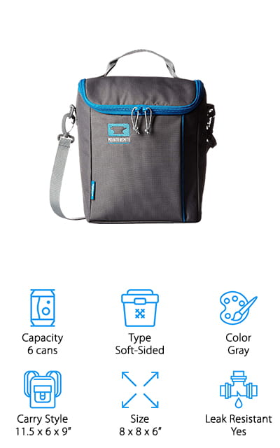 This soft sided cooler bag comes in a stylish gray with a little bit of blue accent. It has a handle as well as a shoulder strap that make it easy to carry just the way you want and it's moderately priced as well. The barrel top closure makes it easy to get in and out of the bag when you need to and the PEVA seam and lining means that there won't be any problem with leaks. You can even put up to 6 cans or bottles inside or store your favorite snacks and treats. For those who want a few more options, you can choose between several additional colors as well. You even get a bottle opener included so you're ready to go for your next trip. You'll have extra pockets to store non-cold items and a simple bag that works for a trip or work.