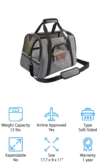 This airline approved pet carrier is soft sided and definitely looks sleek and stylish. It has just the right amount of mesh all the way throughout so you can see your pet and they can see out. There's a zippered section on both sides to make it easy to get your pet in and there's even a zippered section to give your pet some attention or give them some food. There are 2 fleece mats on the inside to keep them comfortable and the entire thing is water resistant and machine washable. The carrier itself is durable and still lightweight enough that you can carry it around easily. Attach your pet's leash to the hook on the inside and you won't have to worry about even your more escape ready pets. There are shoulder straps and a handle, as well to make it easier to carry.