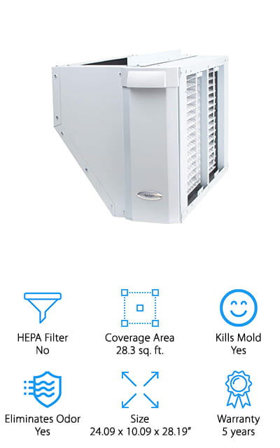 This whole house air purifier is designed to install directly into your upflow HVAC system, whether it uses a right or left return. It has built-in ductwork to make sure you can get a great fit and transition and it helps to reduce installation time. There are even metal tabs included to make sure that it's fully secured right where and when you need it. The moderate size of the physical unit means that it will fit easily into your system and it can get rid of pet dander, smoke, irritants and a whole lot more. When you need a new filter you'll be able to change it out easily and you'll be able to continue getting rid of all those pollutants. Designed with a large filter surface, it's able to last for over a year before you need to replace it.