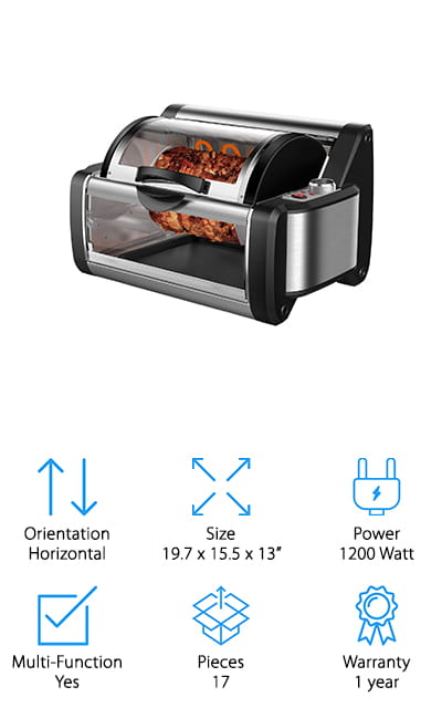 Flexzion Rotisserie Toaster Oven