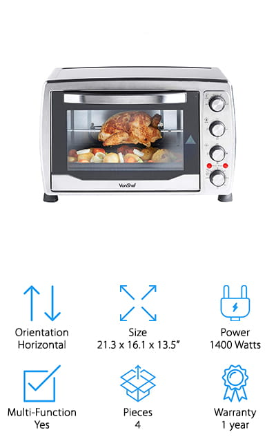 What could you cook in a 36 liter convection oven? A whole lot of things and this one definitely won't disappoint. It's priced low, making sure it's in the price range for most users and it can act as a convection oven, a rotisserie, a grill and even a toaster oven. You'll even be able to use it for baking with the included baking tray and wire rack. The 6 total cooking functions and the fact that it can cook up to 60 minutes at a time and heat to 450 degrees means that it's going to really get the right results. If you're looking for something to make meals in at home or even to take to work with you for that next party or take camping this is a great way to go about it. You'll be able to count on the 1400 watts of power available.