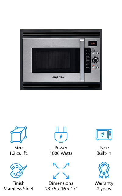 This 1000 watt microwave is actually able to cook up to 50% faster than your gas or electric oven and gives you the option of baking as well as reheating foods but in a much better way. It features a built in base and a cooling fan as well as a trim kit to allow it to be built right into the wall. There are actually 3 different ways you can install it by putting it in with a gas cooktop, into a wall cabinet or under a countertop. No matter what, you'll have a great way to heat and cook your food. You actually get bake, brown and roast options to go along with the microwave function. Top it all off with the stainless steel and black style and you've got a great looking unit that can get just about anything done in no time.
