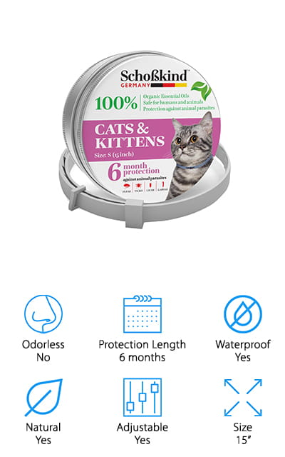 "This ecofriendly flea collar is made in Germany and is 100% safe and based on natural oils. It can protect your cat or kitten from fleas, ticks, larvae and lice for up to 6 months and is entirely waterproof. Available in gray or pink, it's even hypoallergenic and does not contain any chemicals. All you have to do is attach it and your cat is protected. The 15"" size allows you to cut it down to fit your cat and the quality control says if you have a problem or aren't happy you can get a new one or a refund. Cats as young as 5 weeks can use this collar and it smells great. You also don't have to worry about your small children around your cat when it's using this collar because it's perfectly safe to be around them. For families with pets, it's always important to watch the way any of the products you use for them affect your children."