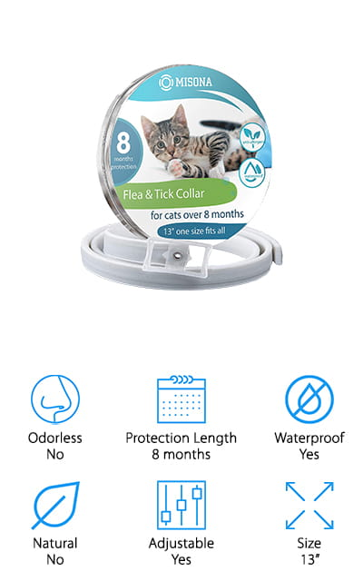 This is our best cheap flea collar for a reason and that reason is that it's a great choice without costing a lot of money. It's water-friendly, which means you can still give your cat a bath and you don't have to worry about them being out in the rain. Completely harmless for your cat, even those with sensitive or dry skin, it can protect against fleas and ticks for up to 8 months. All you need to do is fit the length to your cats' neck and they'll start reaping the benefits in no time. Anti-allergenic, it also protects against lice, larvae and mosquitos, so your pet is going to start feeling more comfortable when they head outside, or even in their own home. You want cat flea collars that work and this one is made for cats that are over 8 months old, so most pets will have no problem getting great results and being completely safe.