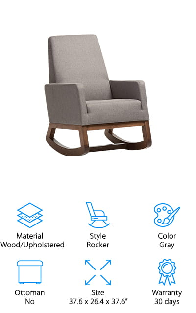 This rocking chair has a modern look that definitely adds something unique to your nursery. The wooden frame supports an upholstered rocking chair that has a sturdy backrest and armrests. It's moderately priced and has a smaller footprint than traditional rocking chairs that you'll find, which makes it a great choice for rooms that don't have a lot of space. The walnut base and the ergonomic design of the rest of the chair make it a great choice and help you feel more comfortable, which helps your little one feel more comfortable. This chair is a little heavier than some other options, but that means that it's sturdy and that you can feel safe using it during the day or night. You may not even want to hide it away in your nursery but keep it right out in the open where everyone will see.