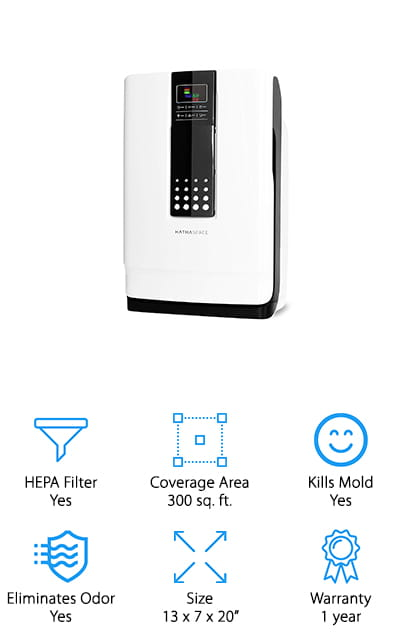 If you want to invest in the best performance air filter for your home, this purifier from Hathaspace is a great air purifier for dog smell and other pet dander issues! This unit uses a 6-stage air filtration system to grab pollutants, allergens, and airborne illnesses from the air. The nano-cold catalyst filter grabs large particles like dog hair and pulls chemicals like ammonia and formaldehyde from the air. Next, the carbon filter neutralizes smoke, odors, and VOCs (volatile organic compounds) from the air to keep it smelling great. The HEPA filter, antibacterial filter, and UV light all trap tiny particles like dust, bacteria, viruses, pet dander, and kill them to keep you and your pets safe. If you need a cat and dog hair air filter that works well for people with allergies, asthma, or other breathing problems, this is a high-powered purifier that keeps your air safe and healthy to breathe, even if you have pets.