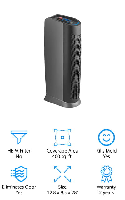 Last up in our reviews is this great air purifier for pet hair removal from Hoover – a trusted name in home appliances since 1908. This air purifier pulls pet hair out of the air and traps it into the washable pre-filter. The titanium dioxide front screen and UV light technology work together to kill germs like bacteria, mold spores, and viruses so your air stays clean and safe. The main filter is made of HEPA-like material that grabs small particles and keeps them out of your air. The charcoal filter neutralizes offensive odors from pet dander, smoke, cooking, and more. This purifier can be controlled by remote, and you can customize it to just clean particles from the air, or turn on the UV/ion setting during cold and flu season. We also like that it has indicators to tell you when the filters need to be cleaned or replaced, so you can ensure your machine is performing at its best!