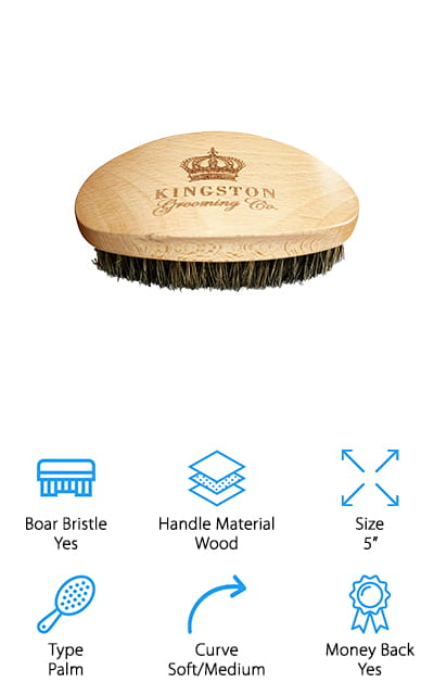 Next up is a professional-grade handheld boar bristle wave brush we think would make a great addition to your daily hair and beard care routine! Kingston makes professional-quality wave brushes that are made to last and look beautiful sitting on your bathroom counter or bedside table. The handle is made of gorgeous beech wood, and its curved design makes it easy and comfortable to hold in your hand. This is a great brush to use for maintaining your waves, but it's also just as good for using on beards, too! You can use the soft/medium bristles to add waves to soft or thin hair on your head, or distribute oils and soften your beard. The brush comes with a beautiful box you can easily keep on your countertop, or toss into your luggage before your next trip! If you prefer handheld brushes for your hair or beard maintenance, definitely pick one of these up to add to your daily routine!