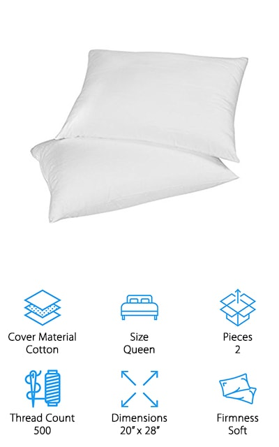 When looking for the best down pillows for back sleepers, we focused on finding softer pillows that still add good support for the neck and head. These pillows from AIKOFUL are a great set if you are most comfortable on your back at night! The down and feather mix in these pillows is on the softer side, which is perfect for back and stomach sleepers. It comes with 2 pillows, so if you switch to sleeping on your side occasionally, you can just double up on pillows for extra support! The down and feathers are hypoallergenic and have been cleaned several times to ensure they are safe for people with allergies. We also like that the cotton covers have been treated with Ultra-Fresh protection, which prevents mold, mildew, dust mites, and other allergens from invading your pillows – and helps prevent odors, too! They are also fairly inexpensive, so you can upgrade pillows for your whole family without breaking your budget!