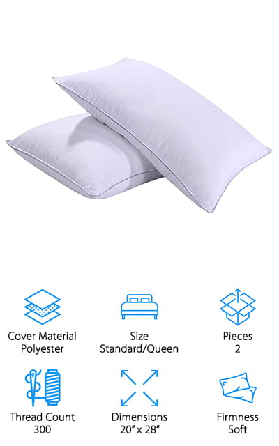 Last up in our down pillow buying guide is this set of pillows that is great for a child's room or guest bedroom! These pillows from Homelike Moment are standard/queen size, so they fit into standard pillowcases, or stuff them into decorative shams for a luxurious look! The pillows have inner stuffing made of feathers and down, and an outer layer made of microfiber polyester, to give you added comfort and coolness while sleeping. The cover is made of polyester fabric that's smooth and soft, and the outer stitching is durable enough to keep the all of the feathers and stuffing intact. We like this fabric because it looks like a luxury hotel pillow and doesn't make crinkly noises while you move around in bed! Another thing we really like about these pillows is that they are machine washable! That makes them perfect for putting in a child's room, guest room, or anywhere you prefer to wash pillows more often!