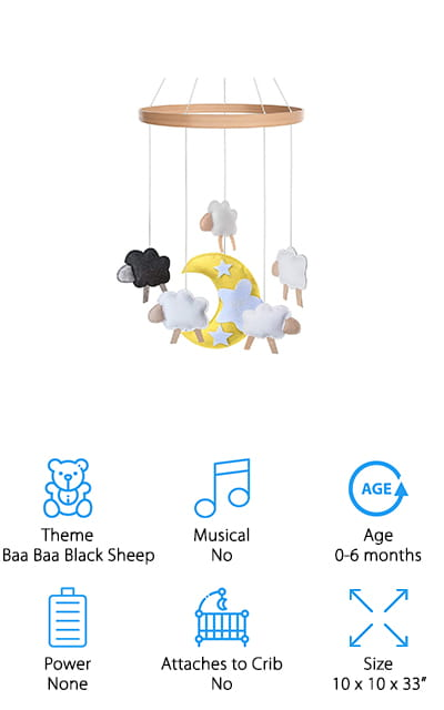 "Last up in our crib mobile buying guide is this hanging mobile that will give your baby's nursery majorly cool vibes! The mobile's theme is ""Baa, Baa Black Sheep,"" with a moon, 4 white sheep, and of course, one black sheep! You can sing the song to your baby while pointing to the soft, felt sheep, and as they get older, they'll sing along with you! We like the minimalist and modern design because it's made with calm, neutral colors that look great with whatever décor you use. This would look just as good in a bohemian-themed nursery as it would a bright, cheerful, farm-themed nursery! The gender-neutral design is great for parents who don't know if they're having a boy or girl – or for use with all of their babies! We also like that this mobile hangs from the ceiling, so you can keep it away from grabby hands by simply hanging it higher up as your baby grows!"