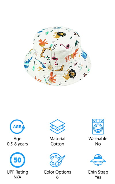 We end our baby sun hat reviews with this adorable bucket hat from Eriso! This 100% cotton hat is made of lightweight cotton that protects your baby's precious head from the sun while keeping them cool. Eriso also made sure to put the tag on the outside of the hat so it won't irritate your baby's scalp! We also like that the hat has an added sweatband around it to pull sweat and moisture away from your baby's face. The brim is foldable and crushable, so you can take this with you anywhere you go! There is a drawstring chinstrap to keep the hat securely in place, but if it's pulled or snagged it will easily pull open to prevent choking or injury. The hat comes in 6 adorable prints, so you can choose one or more to add to your child's wardrobe! We also think these would make great gifts for a little guy or girl in your family!