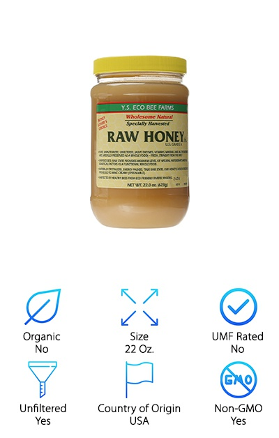 Long before there was modern medicine, there was honey. For thousands of years, it has been used in many cultures worldwide as an antiseptic, antibacterial treatment on all kinds of skin and health conditions. That's why this Y.S. Eco Bee Farms Raw Honey is such a wonderful find. It is great for much more than a sweet treat. If that is what you need it for, however, it truly is one of the best-tasting honey out there. This raw honey comes from Illinois, where the beekeepers take care to keep their bees isolated and feeding on organic plants and flowers. You get a 22-ounce jar of their raw honey, left unfiltered for your enjoyment. Raw honey is more cloudy in appearance than processed store-bought honey since it is not cooked to become more spreadable. It also has a higher pollen count, with more living enzymes, vitamins, and minerals. Add it to your face masks or use it to soften skin and hair.