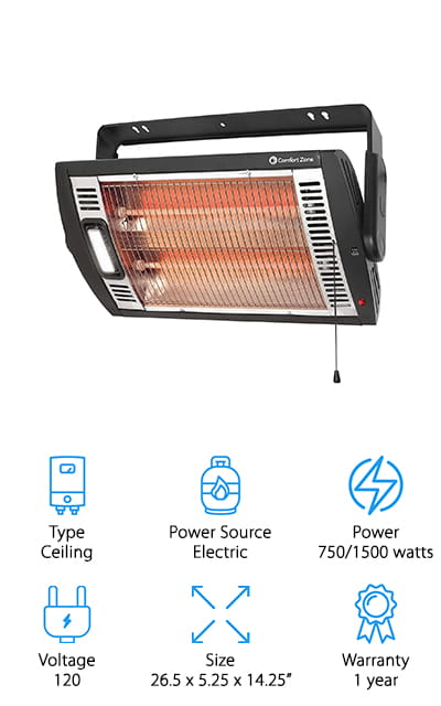 Comfort Zone Quartz Heater