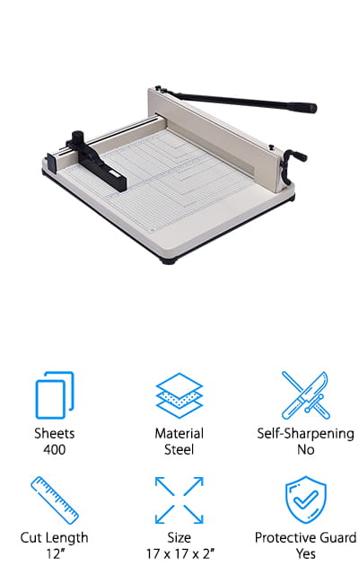 Looking for a serious paper cutter? You're in luck. Our pick for best heavy duty paper cutter is the Giantex A3 Paper Cutter and a giant it is. Why do we say that? Get this: it can cut up to 400 sheets of paper at once. The steel base is really durable and stable so it won't move while in use. The grid has a lot of different measurements so you can line up the paper accurately. Once you get it in place, use the paper clamp to hold it in place. The cutting surface is covered in a scratch resistant coating which protects it from scratches and helps the paper glide smoothly across the surface. As for safety, the cutter handle has a lock that keeps it firmly in place when not in use.