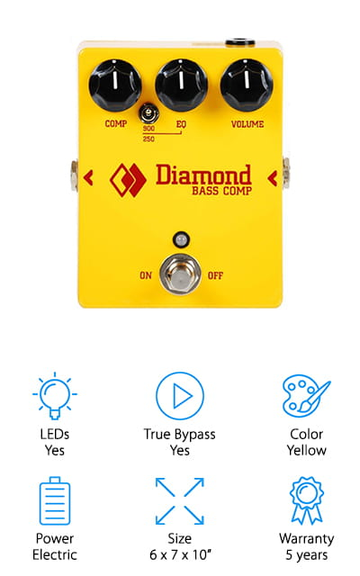 Up next is our Diamond bass compressor review. This is the first pedal by the company that's specifically designed to be used with the bass guitar. It has a lot of really awesome features, like the ability to toggle the Tilt EQ from 900Hz to 250Hz using a mini toggle. That's a 20Hz downward extension unique to this model to accommodate deeper bass tones. Another thing we have to mention is the premium components used in the construction of this compressor. They include some of the 1% metal film resistors and an OP amp that's better quality than industry norms. That's not all, it also has True Bypass and the 18V power supply is also included. One last thing, this compressor has a pretty impressive warranty. It's covered for 5 years.